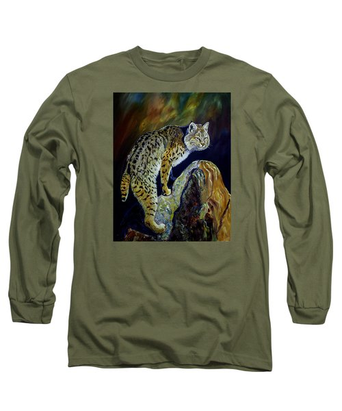 Bobcat At Sunset Original Oil Painting 16x20x1 Inch On Gallery Canvas Long Sleeve T-Shirt by Manuel Lopez