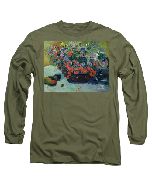 Bouquet Of Flowers Long Sleeve T-Shirt by Paul Gauguin