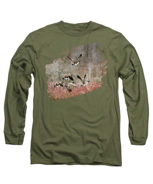 Canada Geese In Flight Long Sleeve T-Shirt by Christina Rollo