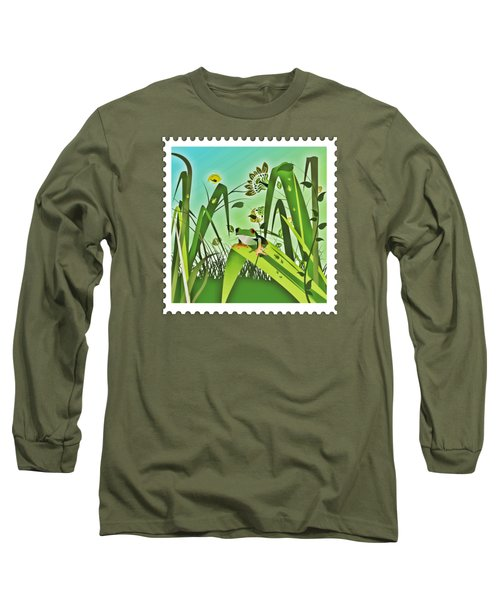 Cute Frog Camouflaged In The Garden Jungle Long Sleeve T-Shirt by Elaine Plesser