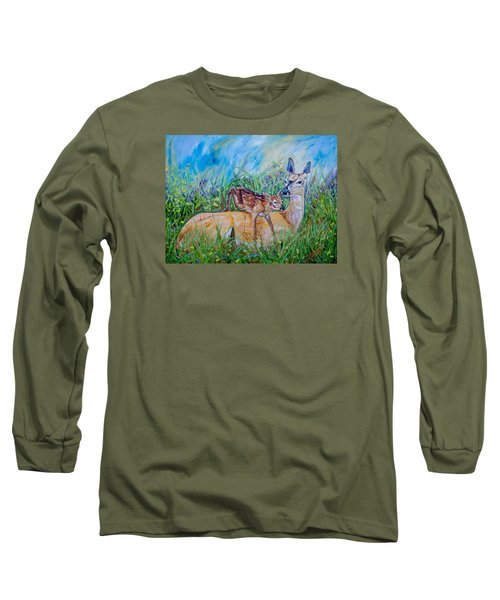 Deer Mom And Babe 24x18x1 Oil On Gallery Canvas Long Sleeve T-Shirt by Manuel Lopez
