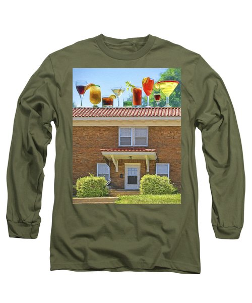 Drinks On The House Long Sleeve T-Shirt by Nikolyn McDonald