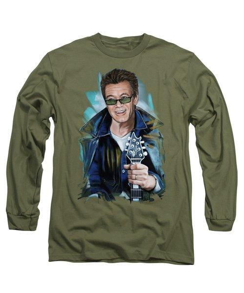 Eddie Van Halen Long Sleeve T-Shirt by Melanie D