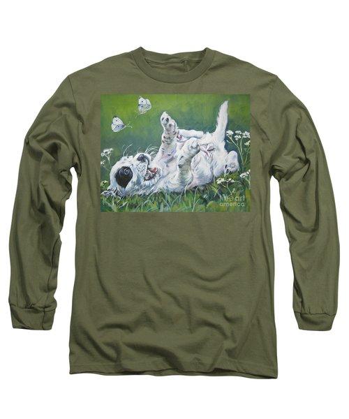 English Setter Puppy And Butterflies Long Sleeve T-Shirt by Lee Ann Shepard