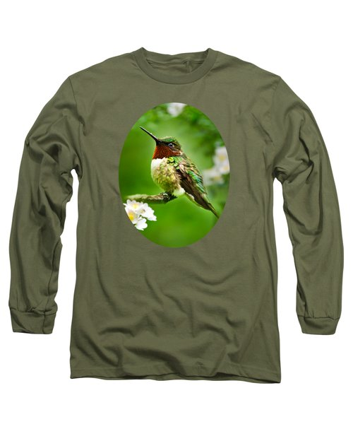 Fauna And Flora - Hummingbird With Flowers Long Sleeve T-Shirt by Christina Rollo