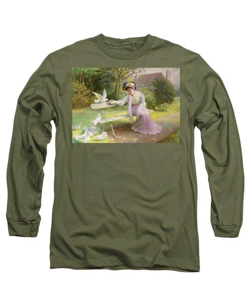 Feeding The Doves  Long Sleeve T-Shirt by Edmond Alphonse Defonte