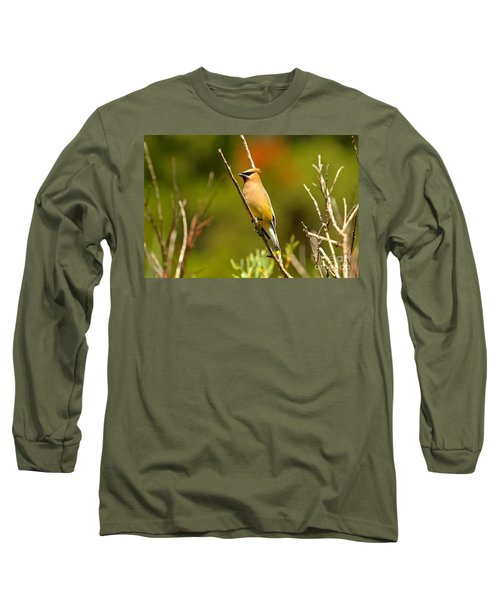 Fishercap Cedar Waxwing Long Sleeve T-Shirt by Adam Jewell