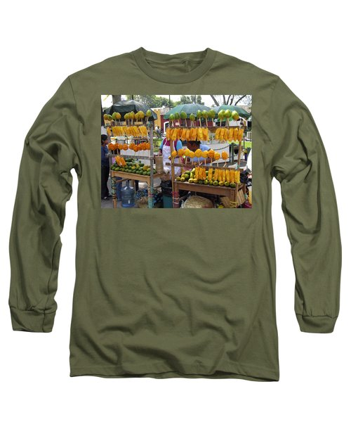 Fruit Stand Antigua  Guatemala Long Sleeve T-Shirt by Kurt Van Wagner