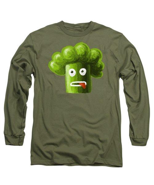 Funny Broccoli Long Sleeve T-Shirt by Boriana Giormova