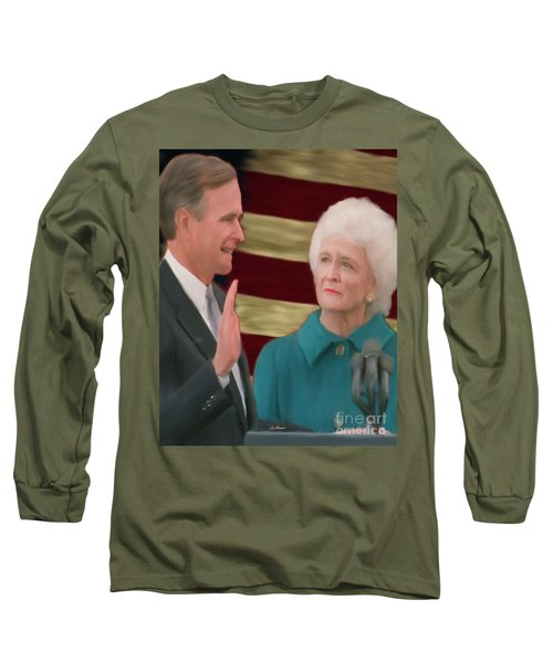 George Hw Bush Inauguration  Long Sleeve T-Shirt by Jack Bunds