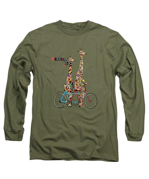 Giraffe Days Lets Tandem Long Sleeve T-Shirt by Bri B