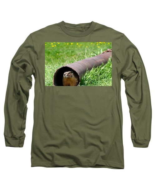 Groundhog In A Pipe Long Sleeve T-Shirt by Will Borden