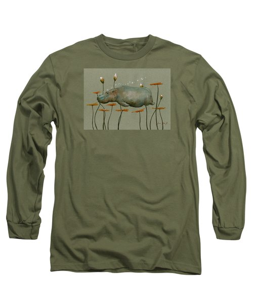Hippo Underwater Long Sleeve T-Shirt by Juan  Bosco