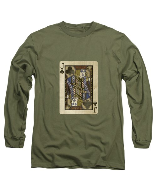 Jack Of Clubs In Wood Long Sleeve T-Shirt by YoPedro