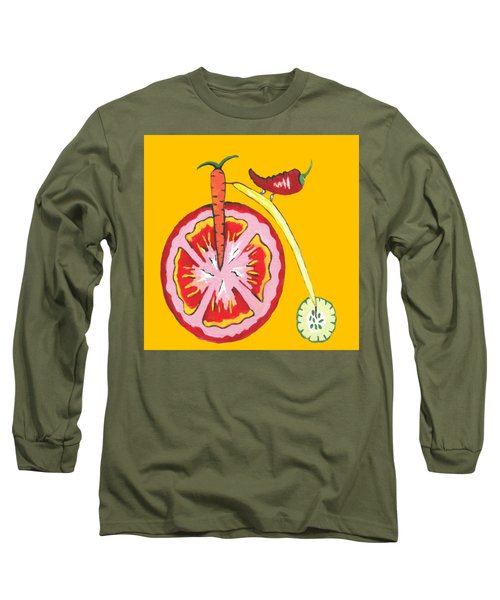 Kitchen Vegetable Aart Long Sleeve T-Shirt by Kathleen Sartoris