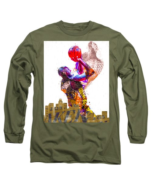 Kobe Bryant Los Angeles Lakers Digital Painting Snake 1 Long Sleeve T-Shirt by David Haskett