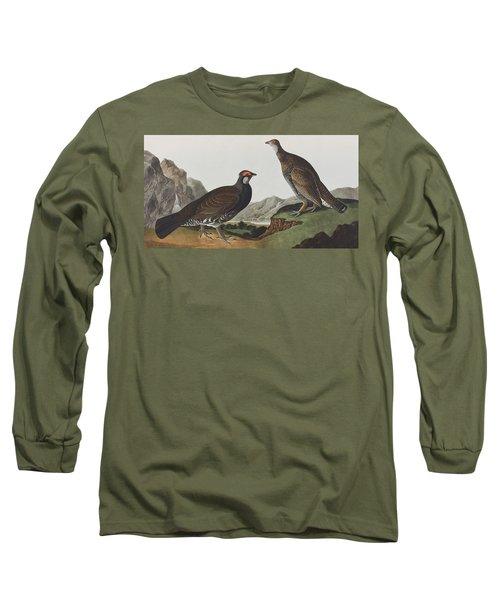 Long-tailed Or Dusky Grous Long Sleeve T-Shirt by John James Audubon