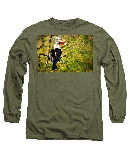 Male Von Der Decken's Hornbill Long Sleeve T-Shirt by Adam Romanowicz
