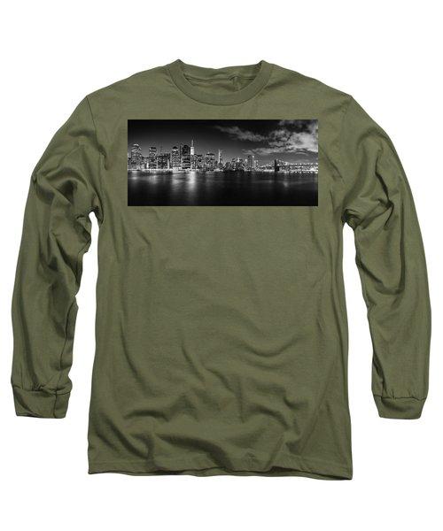 Manhattan Skyline At Night Long Sleeve T-Shirt by Az Jackson