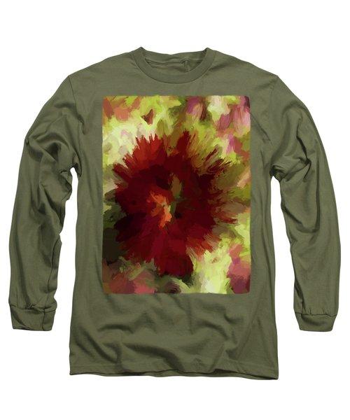 Maroon Flower 4 Long Sleeve T-Shirt by Jackie VanO