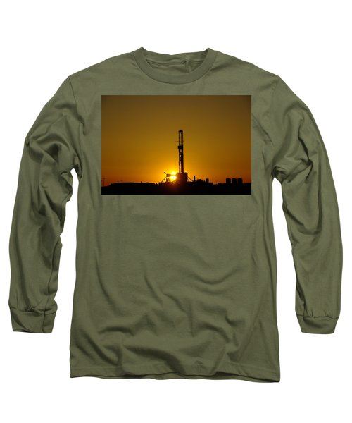 Oil Rig Near Killdeer In The Morn Long Sleeve T-Shirt by Jeff Swan