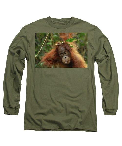 Orangutan Pongo Pygmaeus Baby, Camp Long Sleeve T-Shirt by Thomas Marent