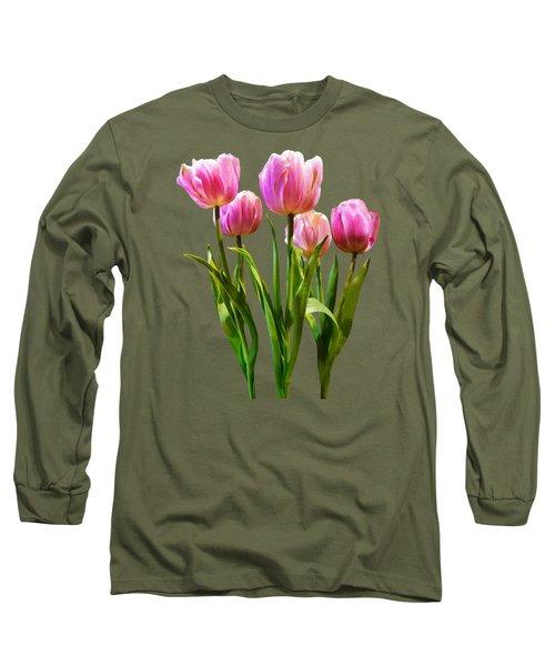 Pink Pastel Tulips Long Sleeve T-Shirt by Susan Savad