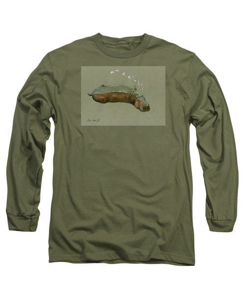 Playing Hippo Long Sleeve T-Shirt by Juan  Bosco