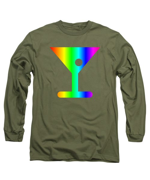 Rainbow Martini Glass Long Sleeve T-Shirt by Frederick Holiday