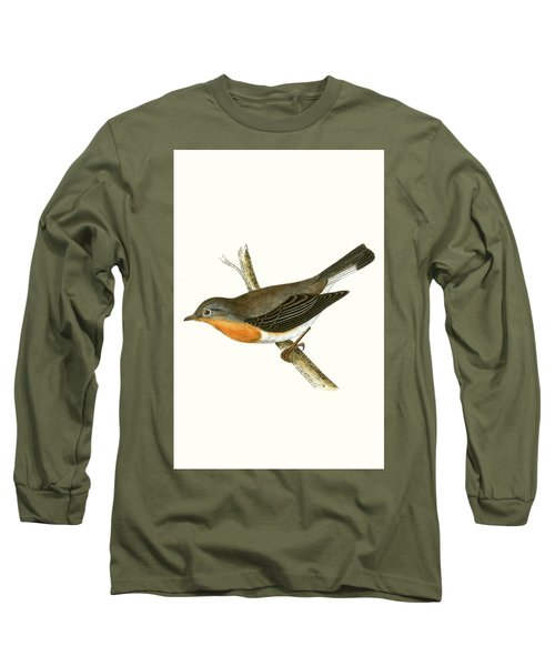 Red Breasted Flycatcher Long Sleeve T-Shirt by English School