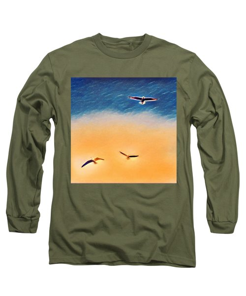 Seagulls Flying In The Burning Sky Long Sleeve T-Shirt by Paul Mc Namara