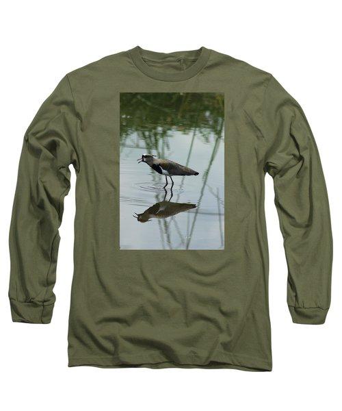 Southern Lapwing Calling Long Sleeve T-Shirt by Robert Hamm