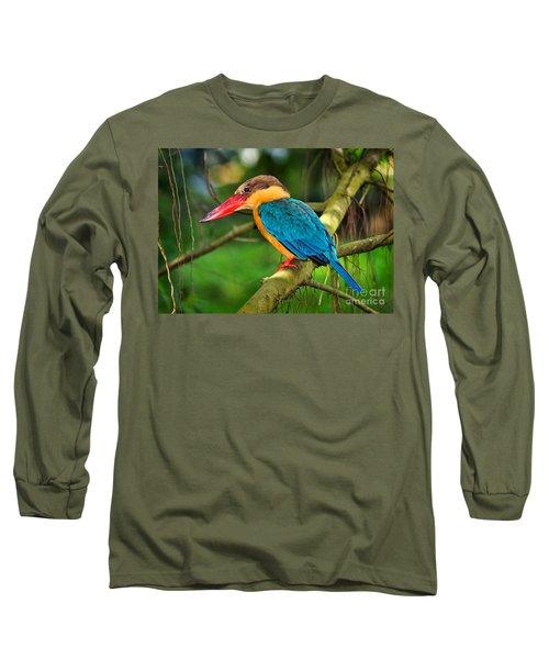 Stork-billed Kingfisher Long Sleeve T-Shirt by Louise Heusinkveld