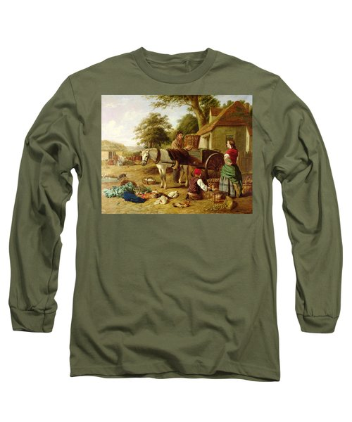 The Market Cart Long Sleeve T-Shirt by Henry Charles Bryant