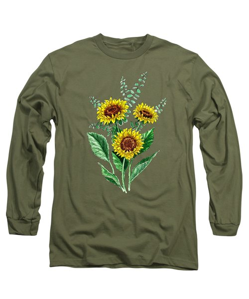 Three Playful Sunflowers Long Sleeve T-Shirt by Irina Sztukowski