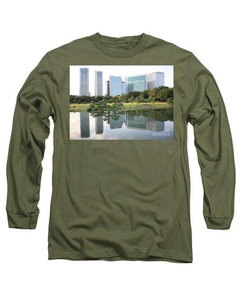 Tokyo Skyline Reflection Long Sleeve T-Shirt by Carol Groenen