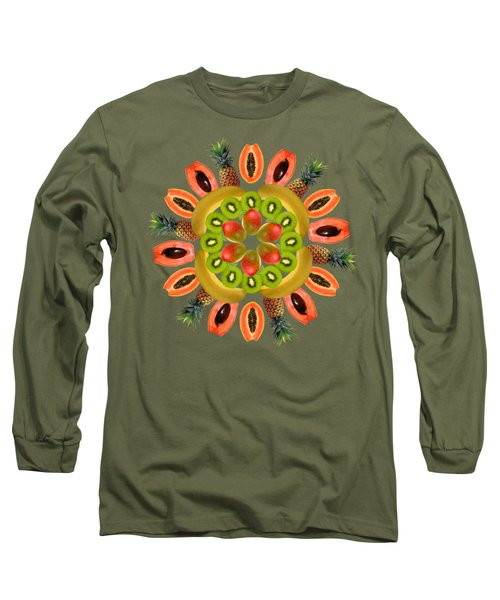 Tropical Fruits Long Sleeve T-Shirt by Edelberto Cabrera