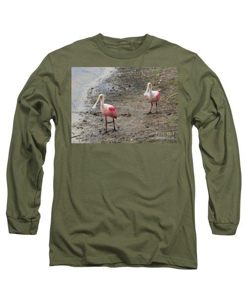 Two Roseate Spoonbills 2 Long Sleeve T-Shirt by Carol Groenen