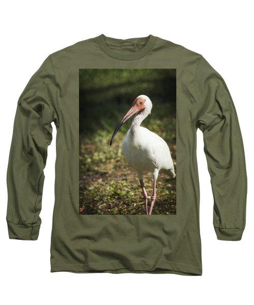 White Ibis On A Walk  Long Sleeve T-Shirt by Saija  Lehtonen