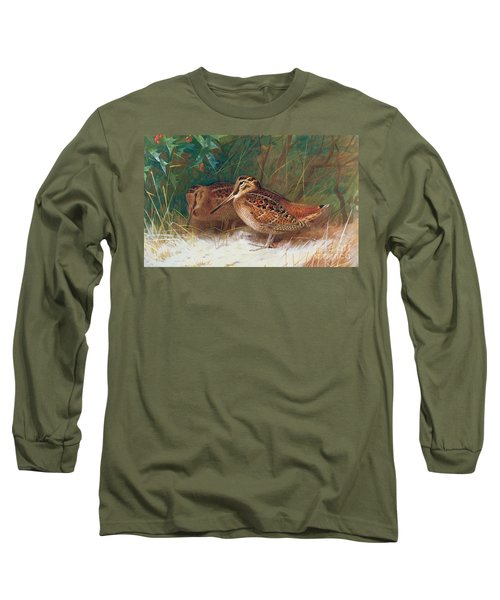 Woodcock In The Undergrowth Long Sleeve T-Shirt by Archibald Thorburn