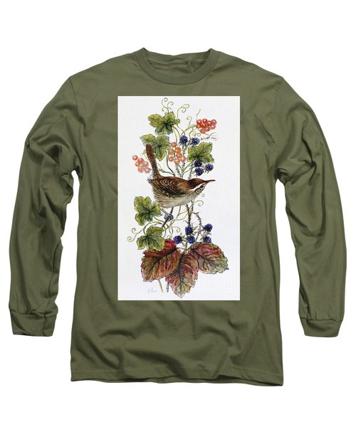 Wren On A Spray Of Berries Long Sleeve T-Shirt by Nell Hill