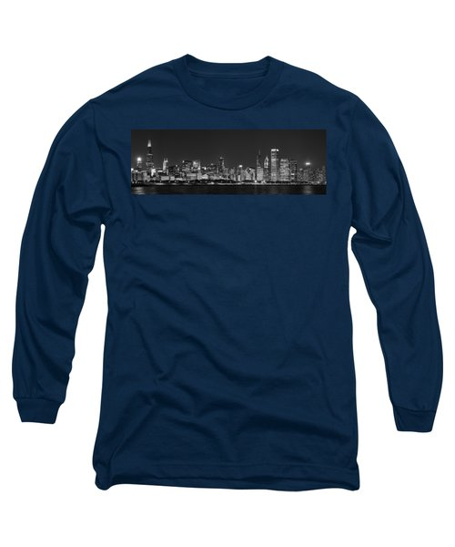 Chicago Skyline At Night Black And White Panoramic Long Sleeve T-Shirt by Adam Romanowicz