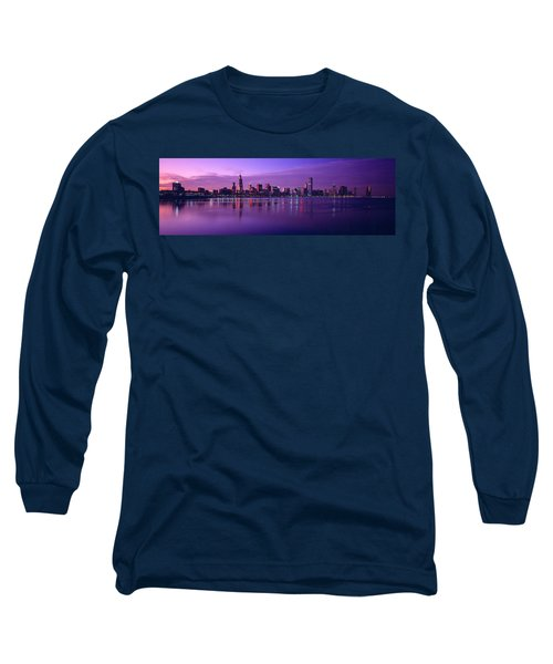 Buildings At The Waterfront Lit Long Sleeve T-Shirt by Panoramic Images