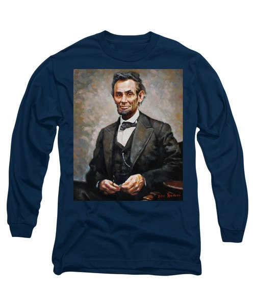 Abraham Lincoln Long Sleeve T-Shirt by Ylli Haruni