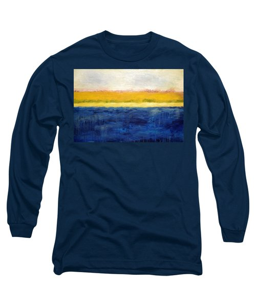 Abstract Dunes With Blue And Gold Long Sleeve T-Shirt by Michelle Calkins