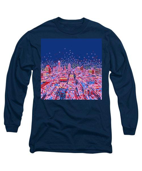 Austin Texas Abstract Panorama Long Sleeve T-Shirt by Bekim Art