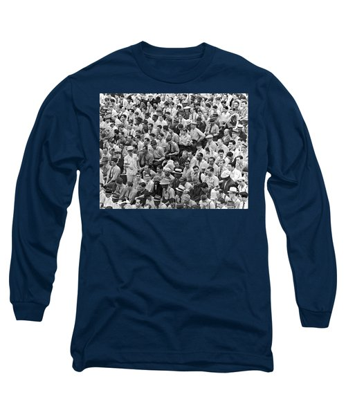 Baseball Fans In The Bleachers At Yankee Stadium. Long Sleeve T-Shirt by Underwood Archives
