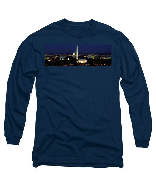 Buildings Lit Up At Night, Washington Long Sleeve T-Shirt by Panoramic Images