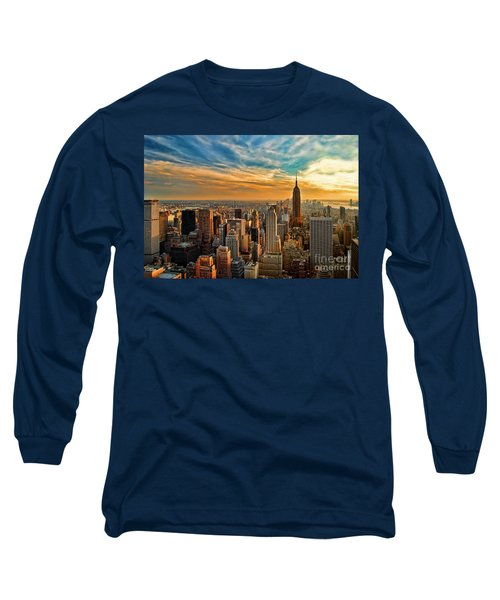 City Sunset New York City Usa Long Sleeve T-Shirt by Sabine Jacobs