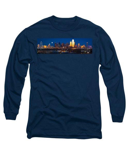 Dallas Skyline Panorama Long Sleeve T-Shirt by Inge Johnsson